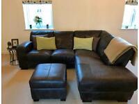 DFS Italian Leather corner sofa and footstool