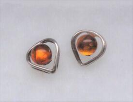 Lovely Heart stud earrings, Amber in Sterling Silver, an ideal romantic gift