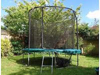 10ft Jumpking Trampoline + safety enclosure, ladder, weather cover, tie down kit