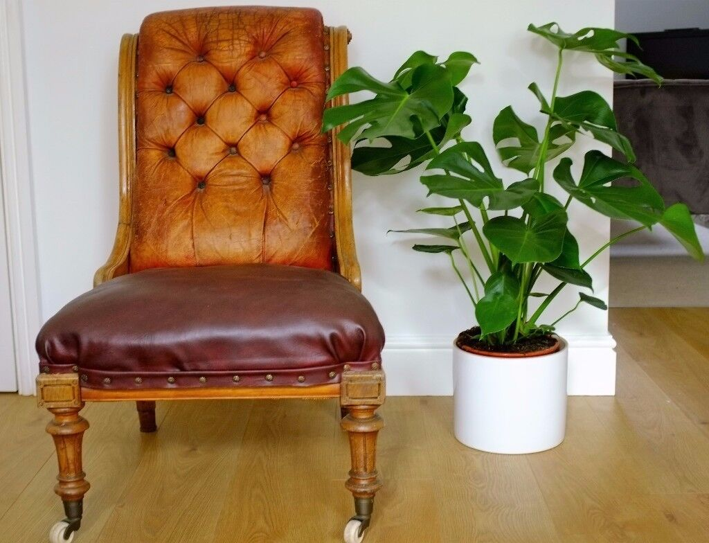 Antique Oak Chair - Chesterfield Style