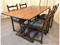 Oak Dining Table & Chairs - Refectory Table & 4 Ladder Back Chairs Antique 1930's / 40's