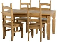 Pine dining table and 4 chairs great condition
