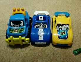 3 large toy cars
