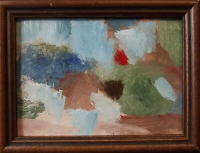 AKOS BIRO 1911-2002 Stylish Cubist Garden Flowers Landscape Oil Painting 1970's