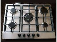 New 70cm 5 Burner Stainless Steel Gas Hob With Wok-Graded