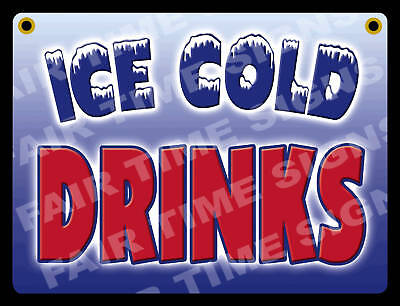 Ice Cold Drink Sign-concession Trailerstandrestaurant 12 X 17 Pvc