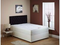 【 FAST DELIVERY】BRAND NEW KING SIZE DIVAN BED BASE WITH WHITE ORTHOPEDIC MATTRESS
