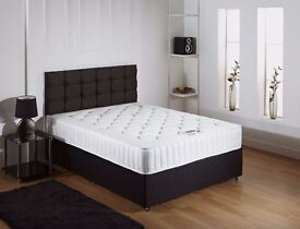 "**FREE DELIVERY** BRAND NEW Double Black Divan Bed With 10"" Ambassador Full Orthopaedic Mattress"