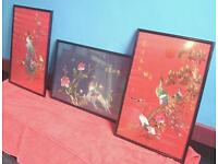 """SET OF 3 BEAUTIFUL ORIENTAL STYLE TAPESTRY PAINTINGS 21"""" X 15"""""""