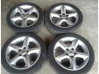"""MK5 VAUXHALL ASTRA H SRI 17"""" ALLOY WHEELS WITH TYRES 225/45/R17"""