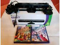 Xbox 360 Kinect Sensor boxed with instructions and 2 games