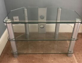 Glass TV stand with chrome effect legs 80cm wide
