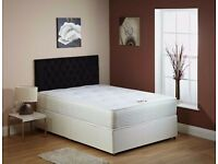 "Brand New Double, Small Double or Kingsize Divan Bed With 9"" Deep Quilt Semi Orthopaedic Mattress"