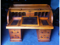 Victorian Honey Oak Cylinder Writing desk