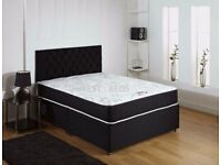 super orthopedic + memory foam mattress king size divan bed with storage drawers and headboard