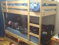 Solid Pine Bunk Bed with One Mattress