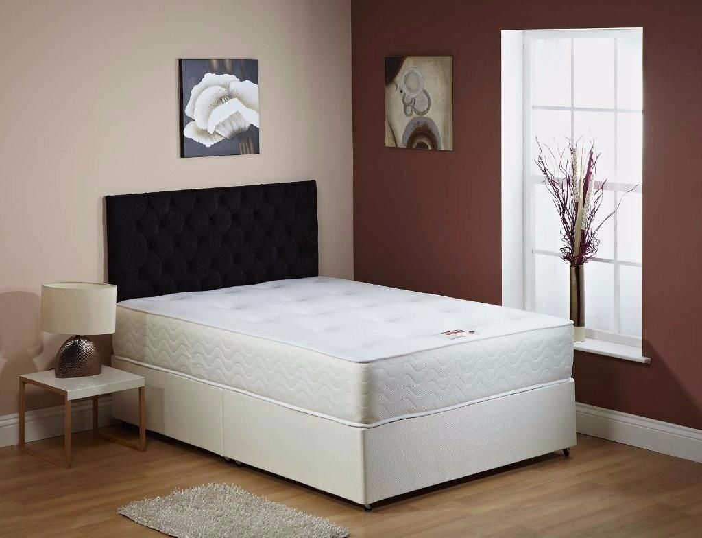 """❤Free: Same Day Fast Delivery❤ Brand New Double / King Divan Bed w 9"""" Thick Semi Orthopedic Mattress"""