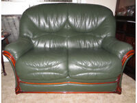 Green Leather 2 Seater Sofa and Armchair in Excellent Condition