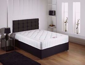BRAND NEW **** Black Double Divan With Orthopedic Mattress + Headboard ON CHOICE