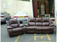 3+1 seater sofa in brown leather armchair is reclinging