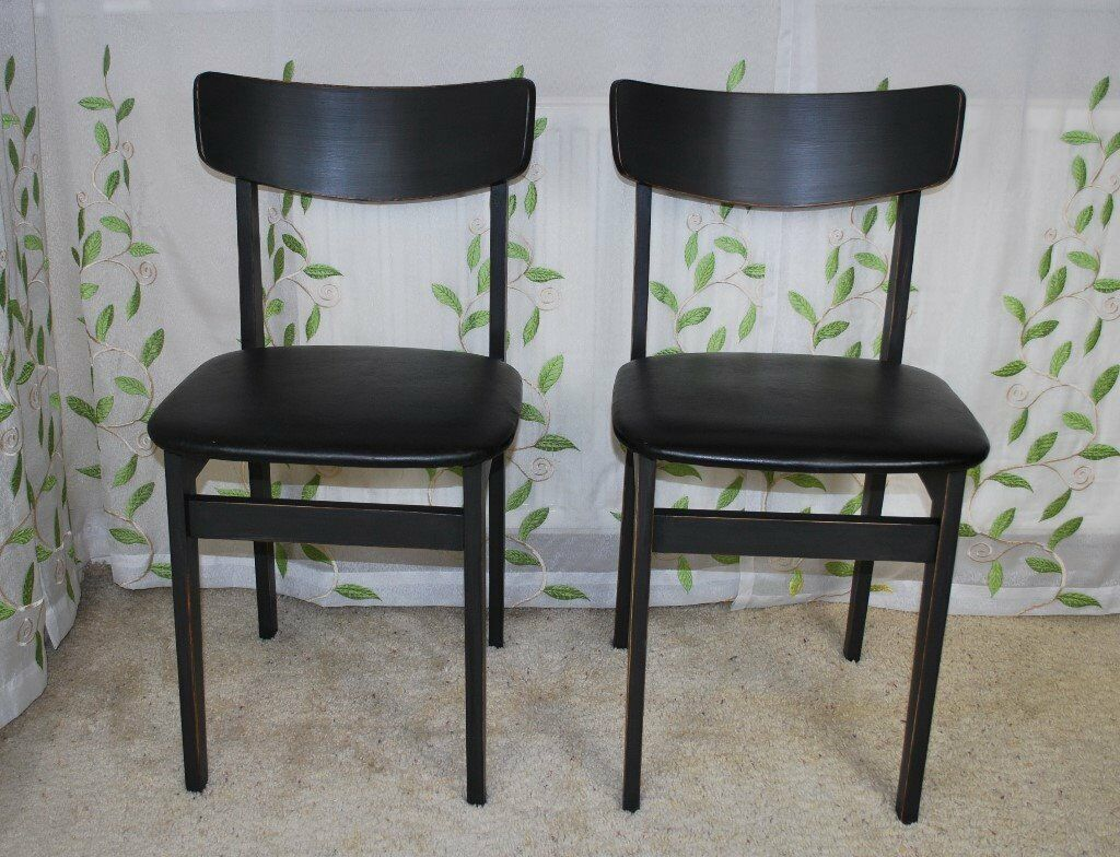 Retro Vintage Two Refubished Chairs Shabby Chic pinted in Annie Sloan Graphite