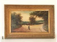 Antique Oil Painting Landscape 'The Gatehouse' Gilt Gesso Frame Signed Early 19th Century