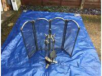 Antique Brass Finish Fireguard and Fireside Companion Set