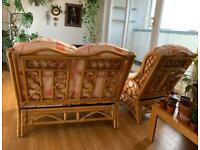 Vintage bamboo sofa and armchair