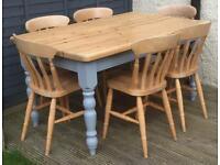 FARMHOUSE TABLE AND SIX FARMHOUSE CHAIRS