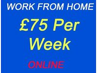 Earn upto £75 Per Week Online - Work From Home