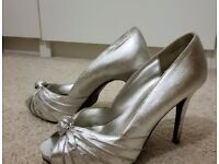 Silver heels, size 5, New Look & River Island bag & purse set