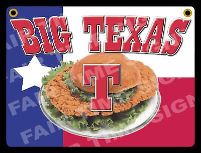 Big Texas T Sign- Concession Trailer Stand Restaurant 12 X 17 Pvc