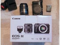 Canon Eos-m + Lens + Flash +Second Battery + EFS Mount