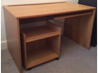 Office desk and separate printer table