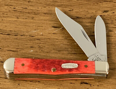 2001 CASE XX 6225 1/2 COCA~COLA RED BONE HANDLE COKE BOTTLE POCKET KNIFE