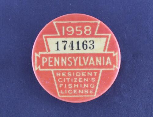 Vintage 1958 Pennsylvania Fishing License - EX+