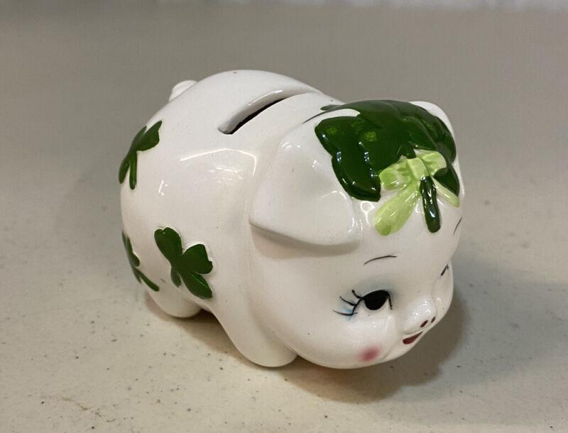 Small Vintage Piggy Bank - Clovers