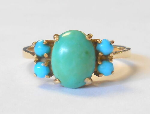 Fantastic Vintage 18K Yellow Gold Green & Blue Turquoise Ladies Ring Size 6.25