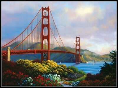 Golden Gate - DIY Chart Counted Cross Stitch Patterns Needlework 14 ct