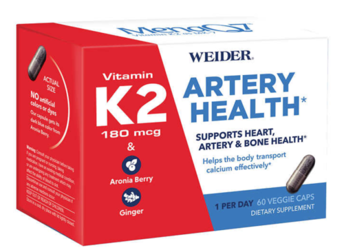 Weider 60 Artery Health with Vitamin K2 Veggie Caps, EXP 03/23