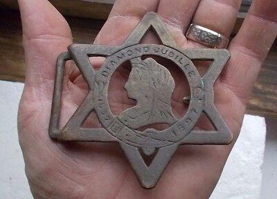 1837-1897 QUEEN VICTORIA DIAMOND JUBILEE BRASS BELT BUCKLE 1897 ORIGINAL