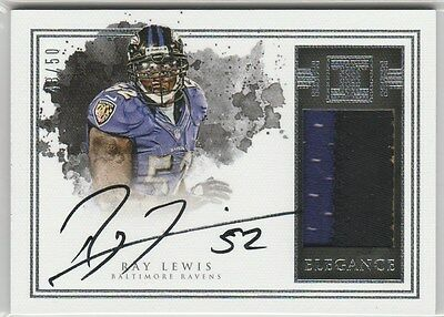 RAY LEWIS ON CARD AUTO 3C PATCH #/50 2016 IMPECCABLE AUTOGRAPH
