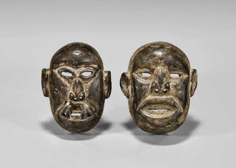 Two Antique Naga Carved Wood Mask. Headhunter