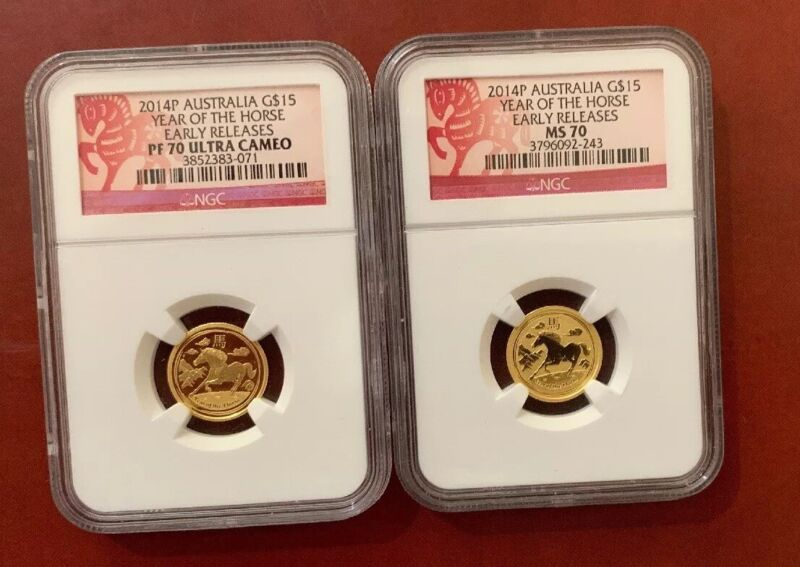 2014 Australia Gold $15 Year of the Horse NGC PF70 MS70 Set Early Release1/10OZ