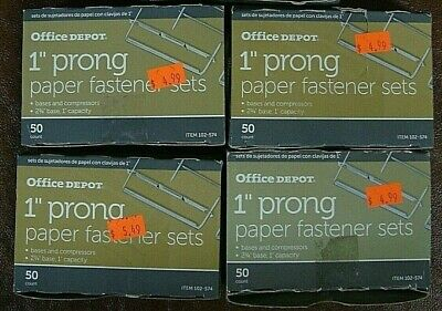 4 Office Depot Brand Paper Fastener Sets 1 Capacity 2 34 Base Ea Box Of 50