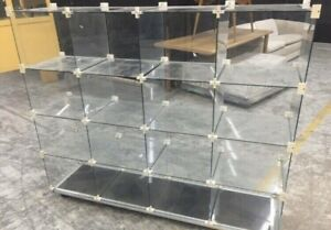 Retail glass display cabinets x16 cubes on castor wheels