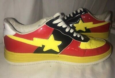 A Bathing Ape  Mens Sneaker Sta Bape Black Yellow Red size 10 Skateboard shoees