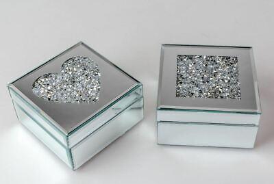 868251 Joyero 14 x 14cm Espejo Piedras De Cristal Trabajado