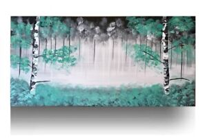 Spring Sale Turquoise Painting Acrylic Tree Birch painting