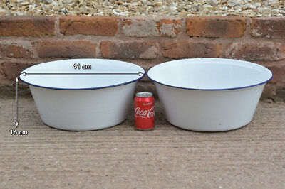 2x old white enameled  washing bowl bath enamel  41 cm -  FREE POSTAGE